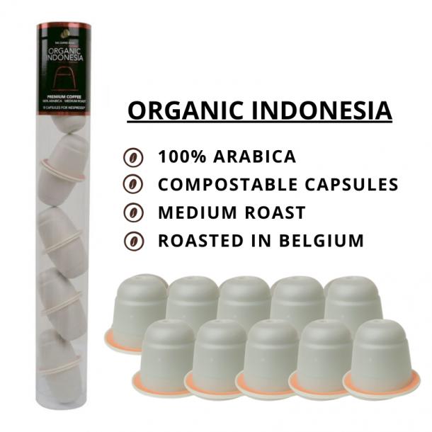 Økologisk Indonesia - 10 stk. komposterbare kapsler - The Coffee Souq ®