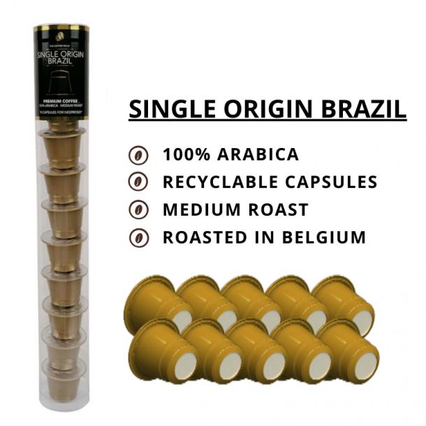 Single Origin Brazil - The Coffee Souq 10 kompatible kapsler til Nespresso®
